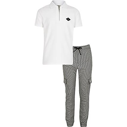 Boys white RIR badge polo top outfit