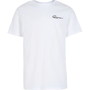 Boys white 'River' embroidered T-shirt
