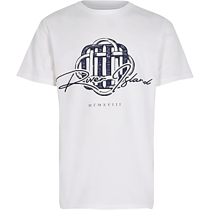 Boys white 'River Island' print t-shirt
