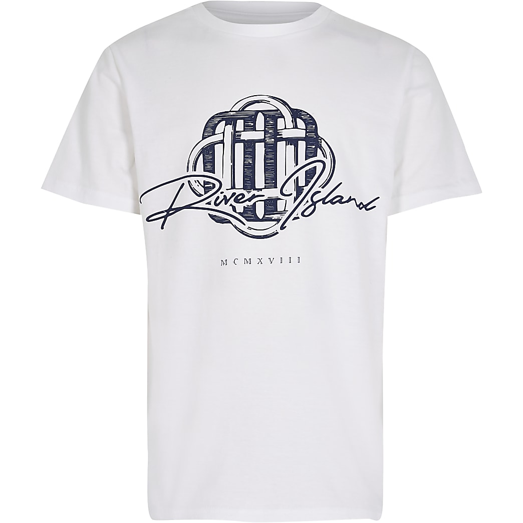 Boys white 'River Island' print t-shirt