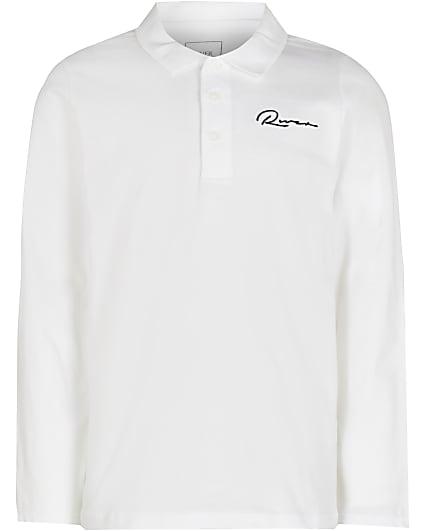 Boys white River long sleeve polo shirt