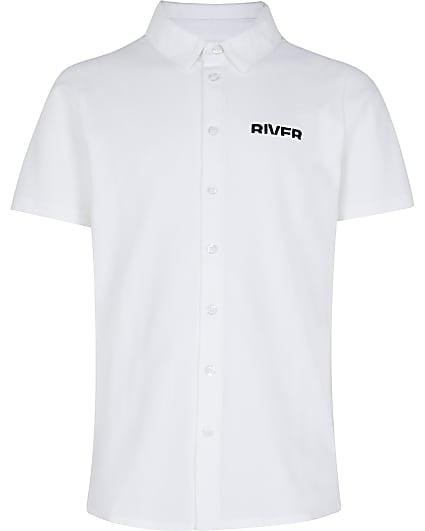 Boys white River polo shirt