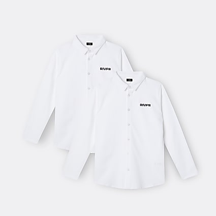 Boys white River polo shirts 2 pack