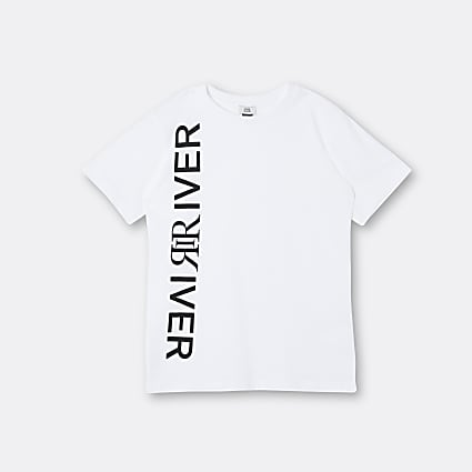 Boys white River print t-shirt