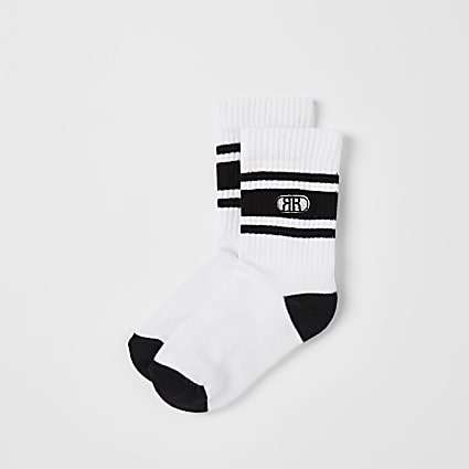 Boys white RR sports socks 2 pack