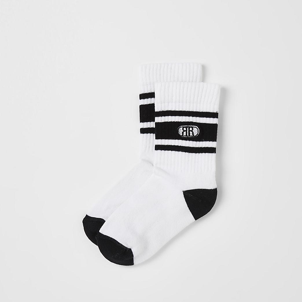 Boys white RR sports socks 2 pack