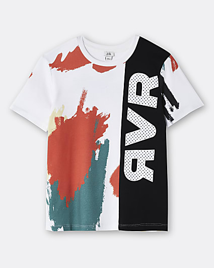 Boys white RVR colour block t-shirt