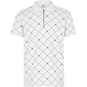 Boys white RVR half zip polo shirt