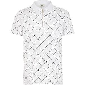 RVR-Poloshirt mit kurzem Reißverschluss für Jungen in Weiß