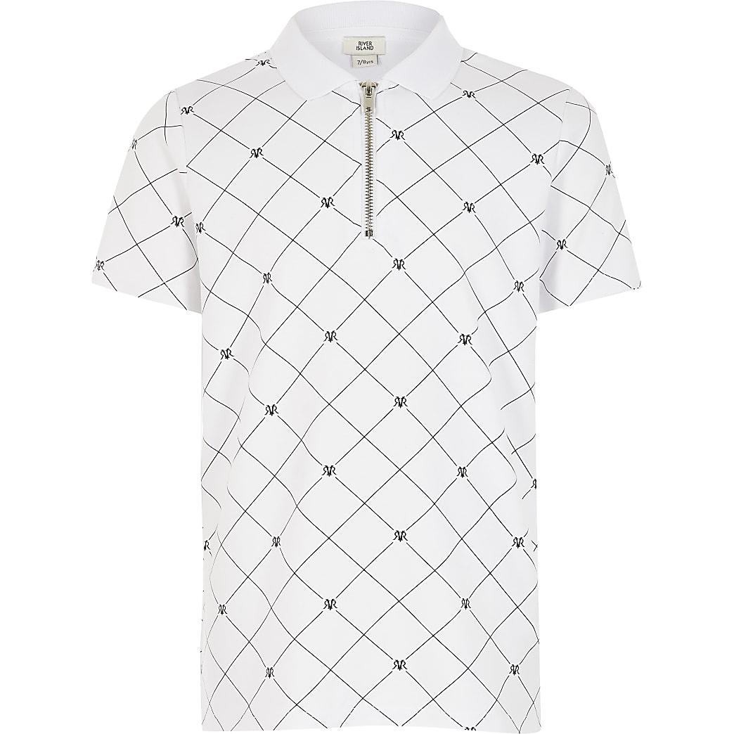 Wit poloshirt met halve ritssluiting en RVR-print voor jongens