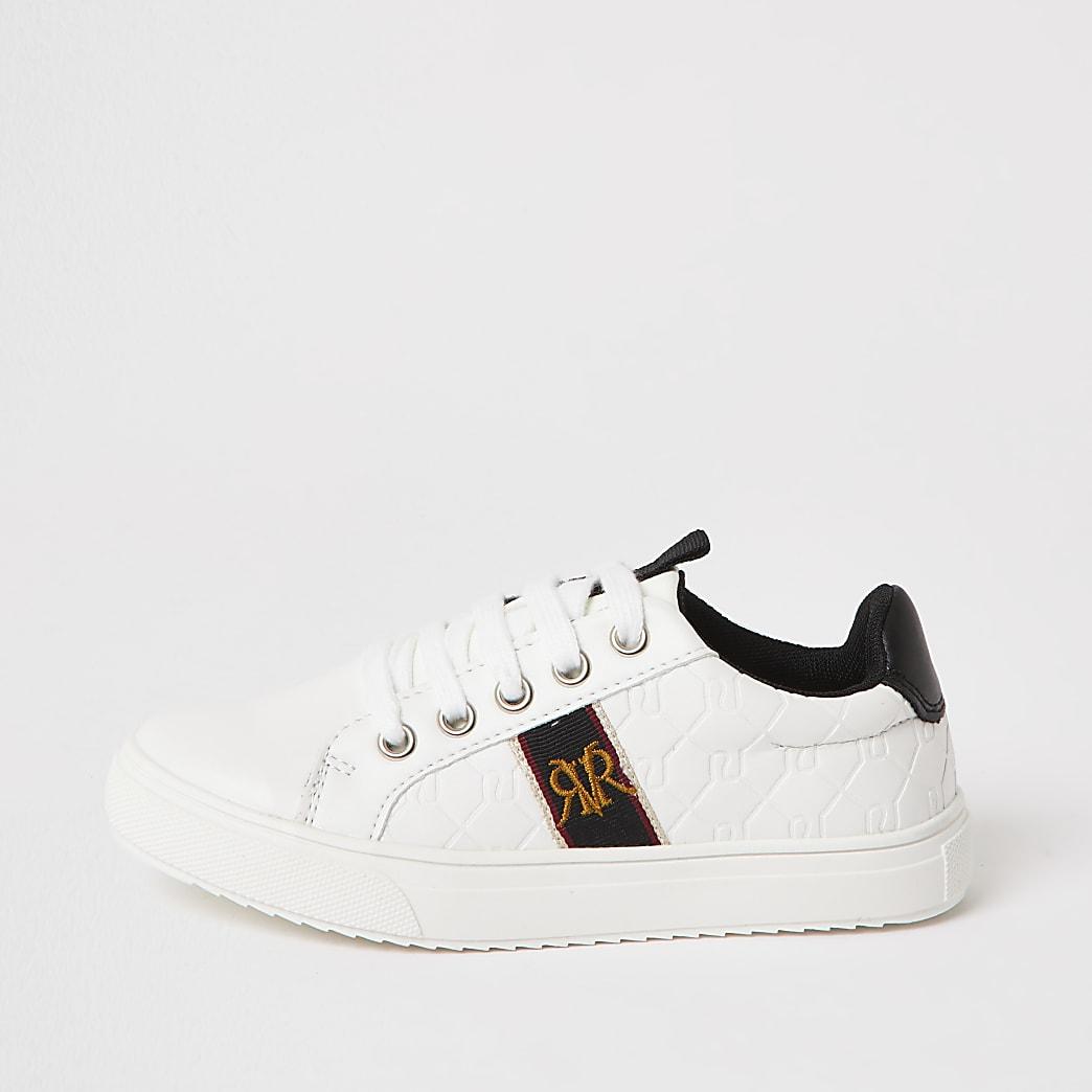 Witte sneakers met RVR monogram en vetersluiting voor jongens