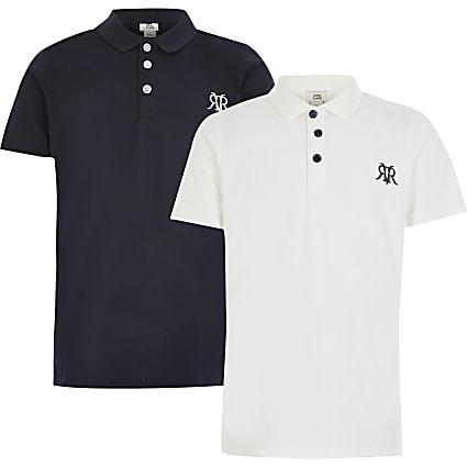 Boys white RVR polo shirt 2 pack