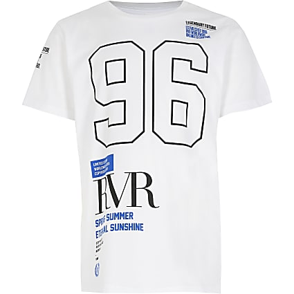 Boys white RVR print t-shirt