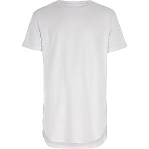 Wit T-shirt met korte mouwen en ronde zoom voor jongens