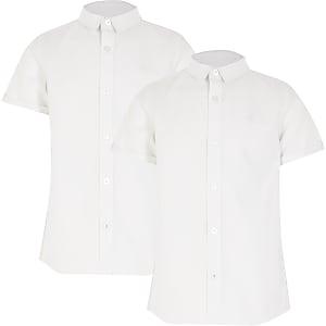 Witte overhemden met korte mouwen voor jongens set van 2