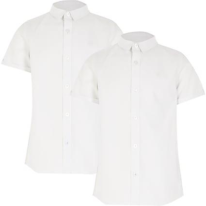 Boys white short sleeve shirt 2 pack