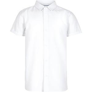 Wit overhemd met korte mouwen van keperstof voor jongens