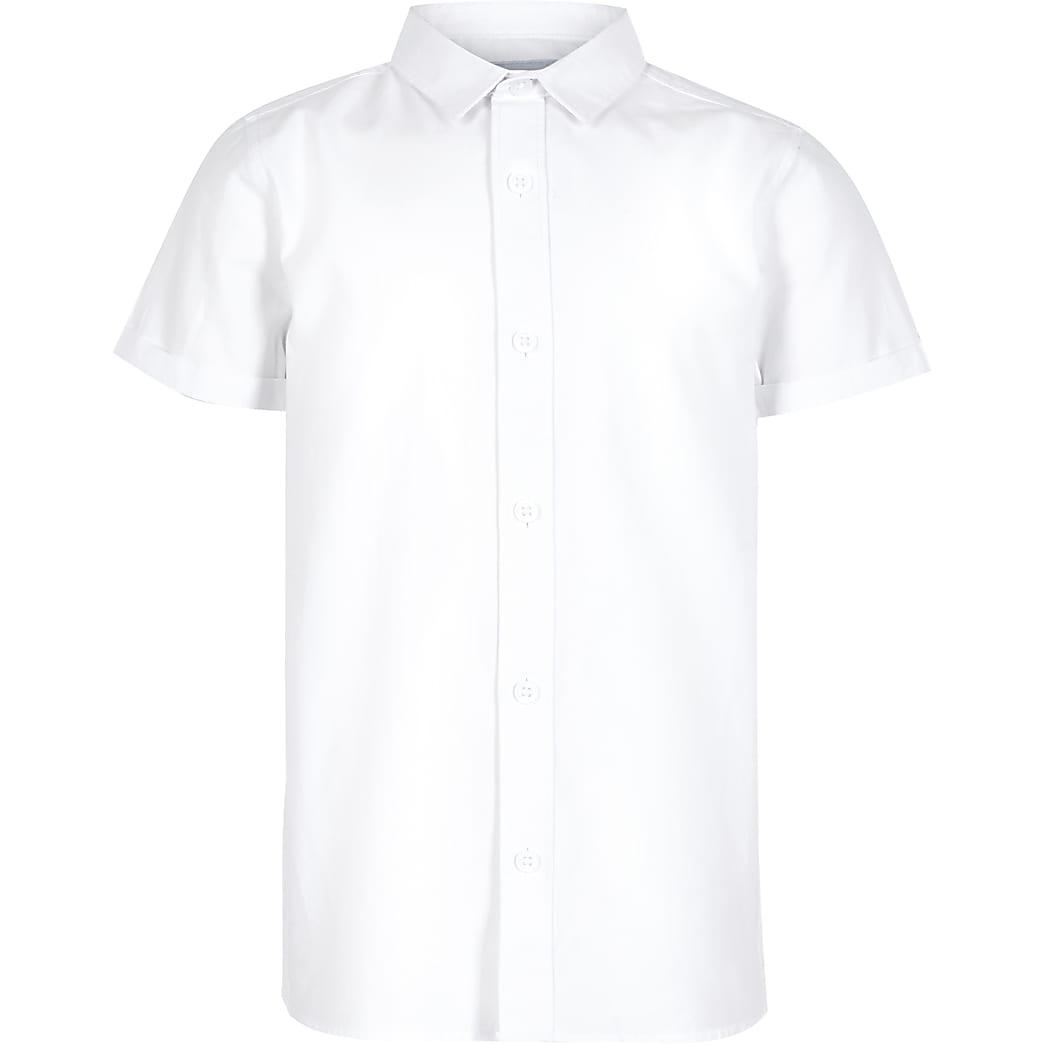 Boys white short sleeve twill shirt