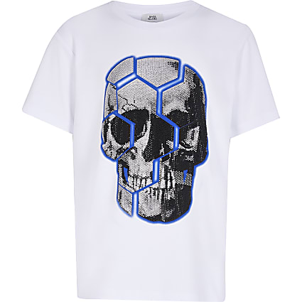 Boys white skull bling t-shirt