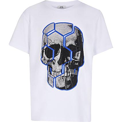 Boys white skull bling t-shirt