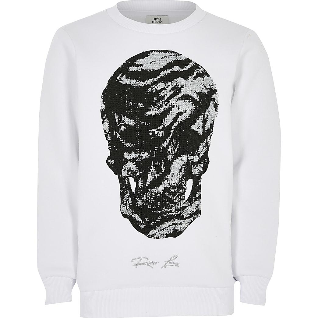 Boys white skull studded sweatshirt