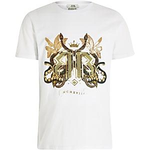 Weißes T-Shirt mit Prägung und Schlangenmotiv