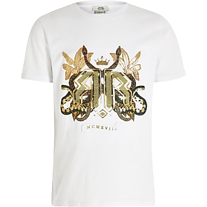 Boys white snake embossed T-shirt