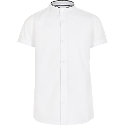 Boys white stand up check collar shirt