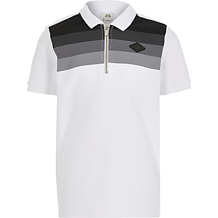 Boys white stripe half blocked polo