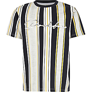 Boys white stripe Prolific embossed T-shirt