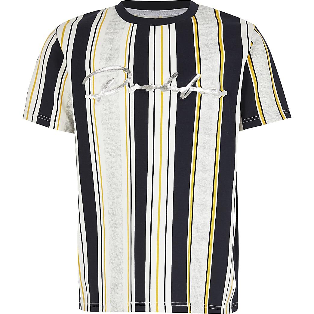 Boys white stripe Prolific embossed T-shirt