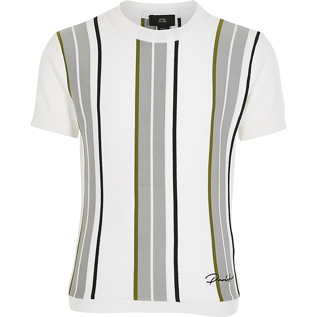Boys white stripe Prolific knitted top