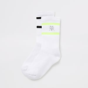 Boys white stripe RVR ribbed socks 2 pack