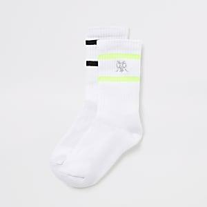 Lot de2 paires de chaussettes cotelées RVR blanches rayées pour garçon