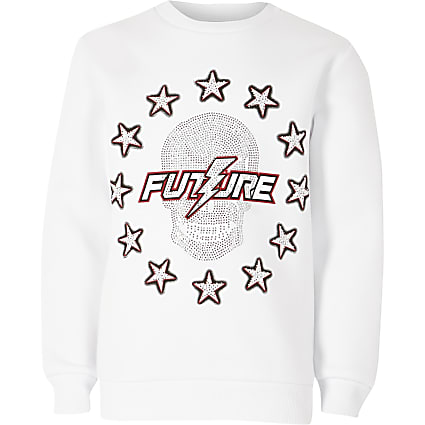 Boys white studded future skull sweatshirt