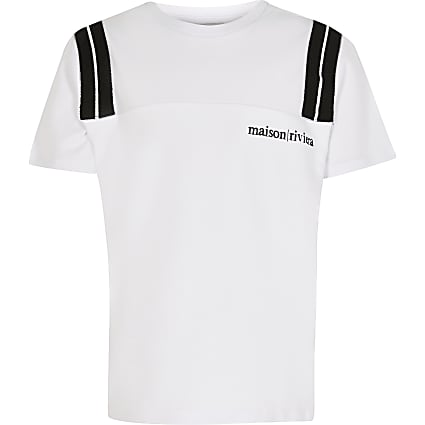 Boys white tape cut and sew t-shirt