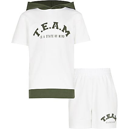 Boys white 'Team' hoodie outfit