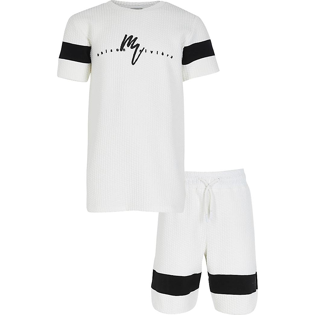 Boys white texture blocked maison t-shirt set
