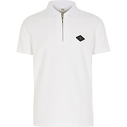 Boys white textured half zip polo shirt