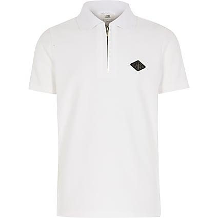 Boys white textured half zip polo shirt