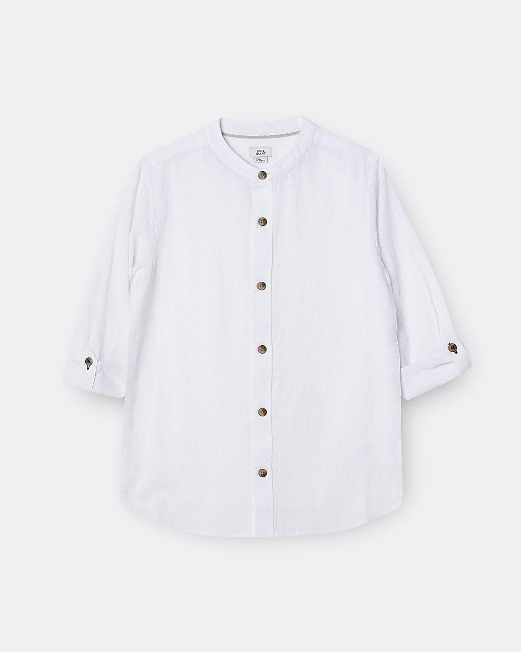 Boys white textured long sleeve grandad shirt