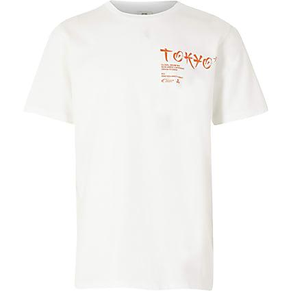 Boys white 'Tokyo' print t-shirt