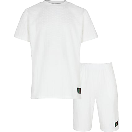 Boys white towelling lounge set