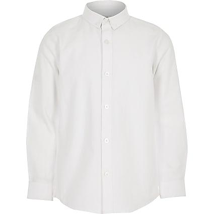 Boys white twill long sleeve shirt