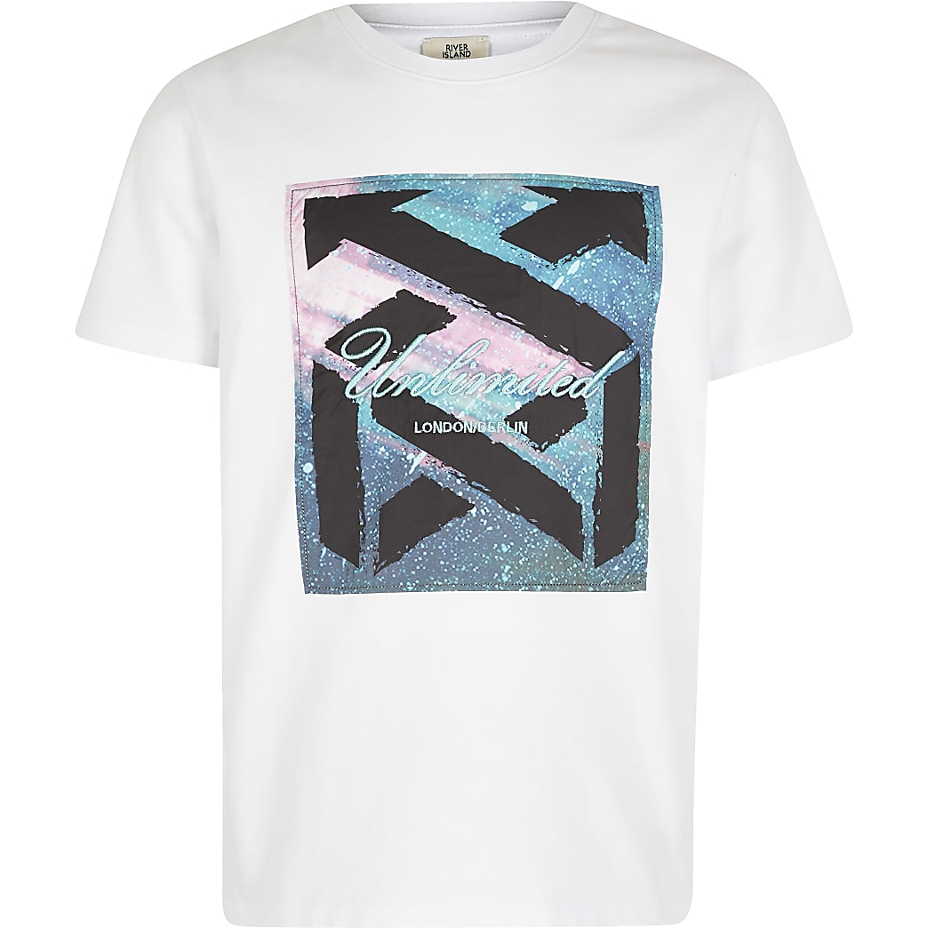 Boys white 'Unlimited' satin box T-shirt