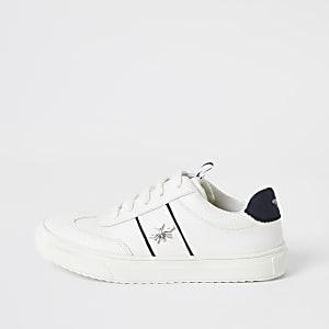 Witte sneakers met wespenprint opzij en vetersluiting voor jongens