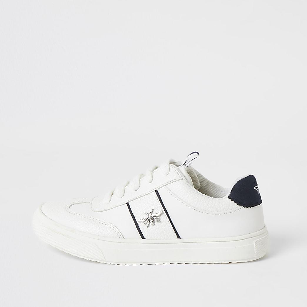 Weiße Sneaker zum Schnüren mit Wespen-Applikation für Jungen