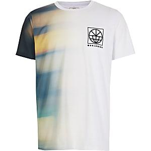Wit tie-dye T-shirt met 'Worldwide'-print voor jongens