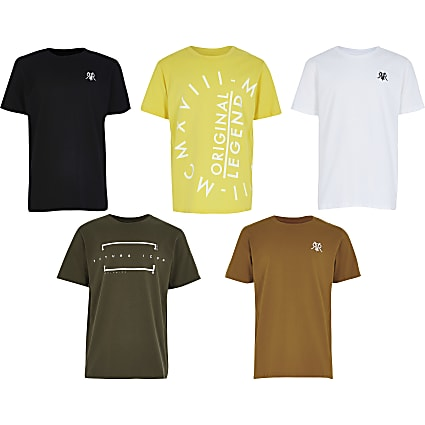 Boys yellow 5PK design t-shirt