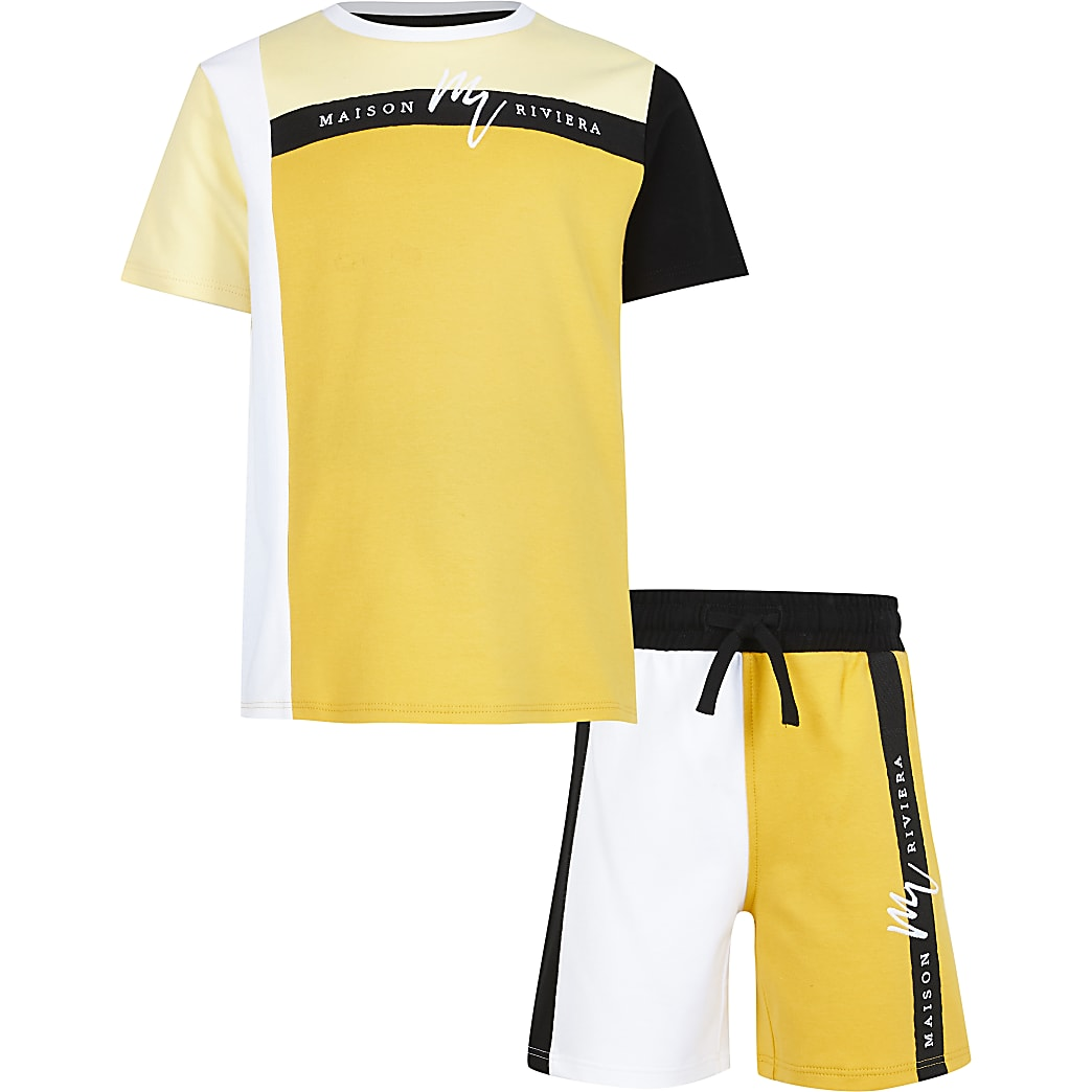 Boys yellow blocked taped t-shirt outfit